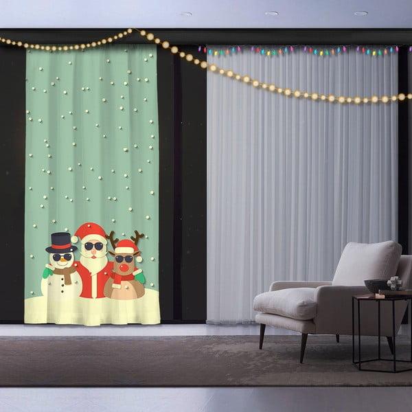 Świąteczna zasłona Christmas Crew, 140x260 cm