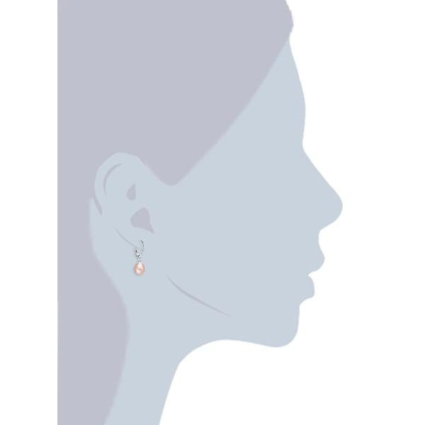Světle oranžové perlové náušnice s kroužkem Chakra Pearls Loes