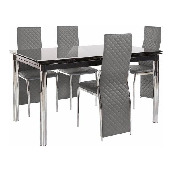 Set jídelního stolu a 4 šedých jídelních židlí Støraa Pippa William Black Grey