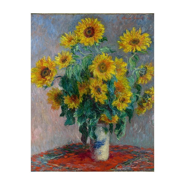 Reprodukcia obrazu Claude Monet - Bouquet of Sunflowers , 50 × 40 cm