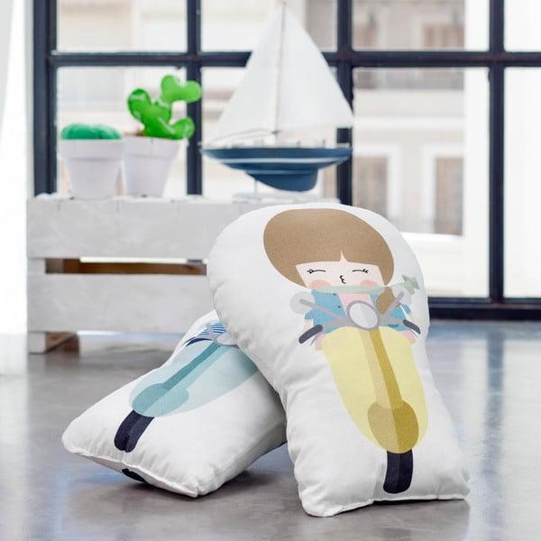 Polštářek z čisté bavlny Happynois Biker Boy, 40x30 cm