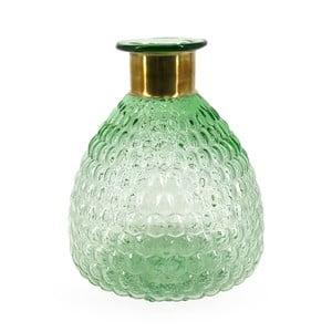 Zelená skleněná váza s detailem z mědi Moycor Smith