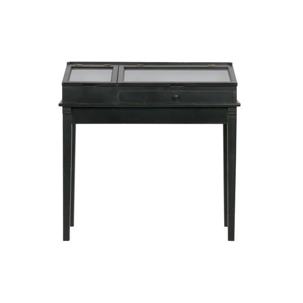 Čierny drevený stolík s vitrínou BePureHome