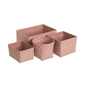 Set 4 coșuri depozitare Unimasa Poly, roz pudră de la Unimasa