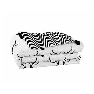 Černobílý oboustranný přehoz z mikrovlákna DecoKing Hypnosis Deers, 240x260cm