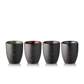 Set 4 pahare termo din gresie ceramică Bitz Basics Black, 270 ml, negru