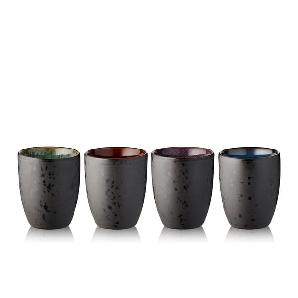 Sada 4 černých kameninových termohrnků Bitz Basics Black, 270 ml