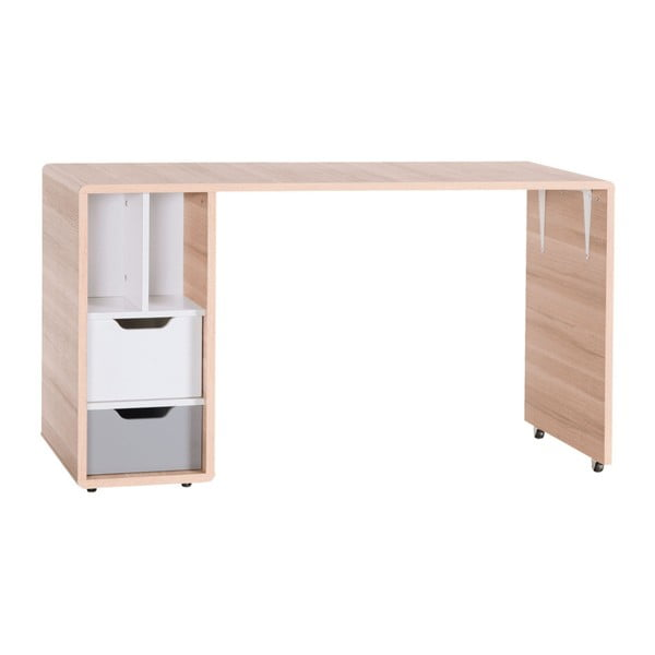 Pracovní stůl se dvěma bílo-šedými zásuvkami Vox Evolve