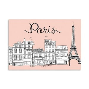 Poster Americanflat Paris on Pink, 30 x 42 cm