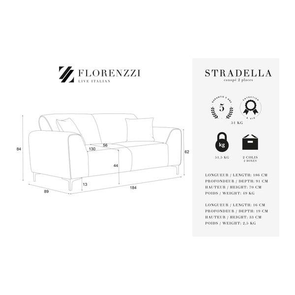 Antracitově šedá 2místná pohovka Florenzzi Stradella