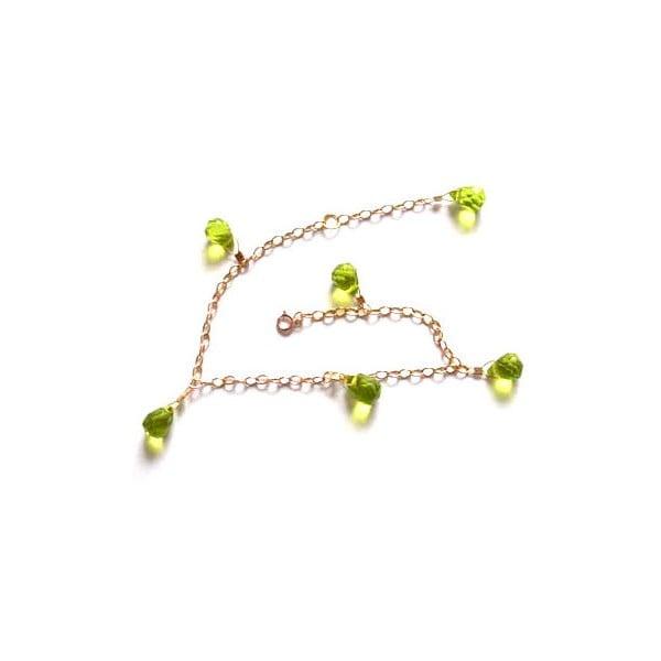 Zlatý náramek Peridote Quartz Teardrop (peridot)