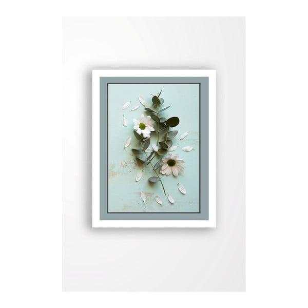 Tablou pe pânză în ramă albă Tablo Center Blue Garden, 29 x 24 cm