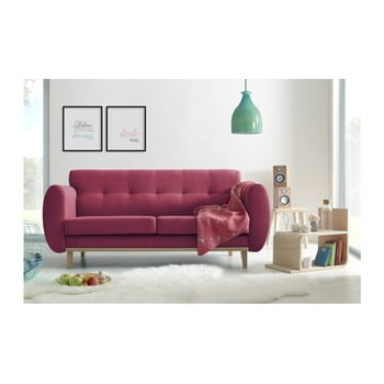 Canapea cu 3 locuri Bobochic Paris Viking roșu
