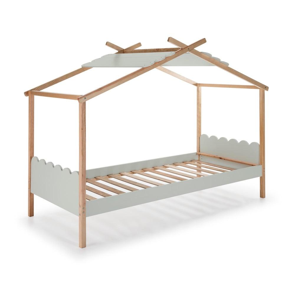 Šedá dětská postel s konstrukcí z borovicového dřeva Marckeric Nuvem,90x190cm