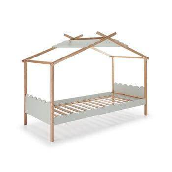 Pat cu structură din lemn de pin pentru copii Marckeric Nuvem, 90 x 190 cm, gri