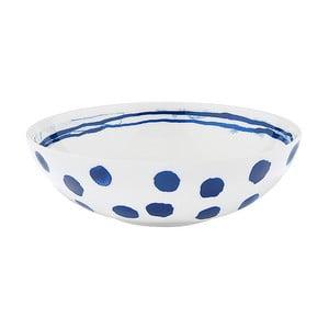 Farfurie adâncă din porțelan Santiago Pons Dotty, ⌀ 19 cm, alb - albastru