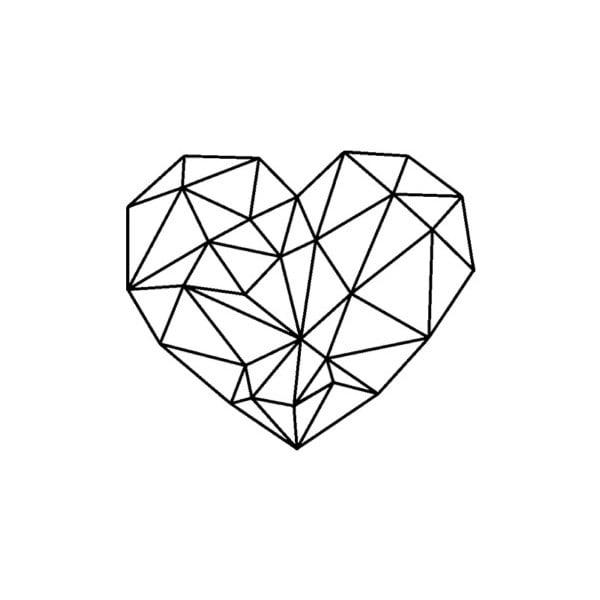Černá kovová nástěnná dekorace Heart, 47 x 65 cm