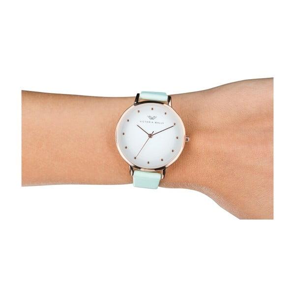 Dámské hodinky s mátově zeleným koženým řemínkem Victoria Walls Dusk