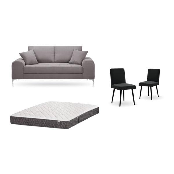 Set canapea maro, 2 scaune negre, o saltea 140 x 200 cm Home Essentials