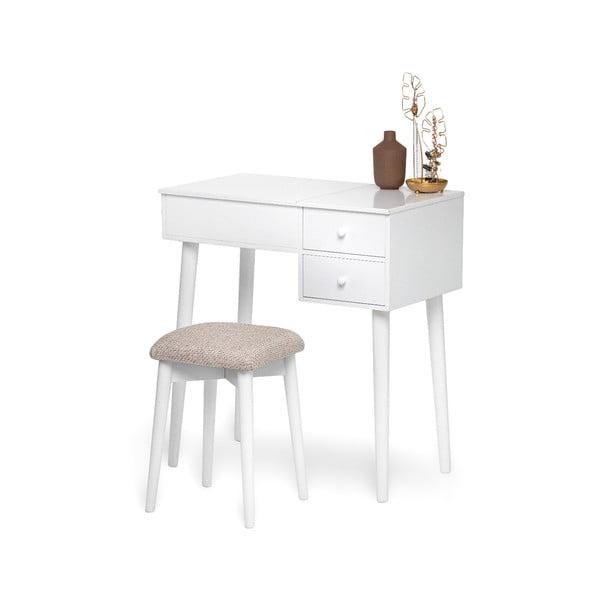 Masă de toaletă cu oglindă, 2 sertare și scaun și Chez Ro Beauty, alb