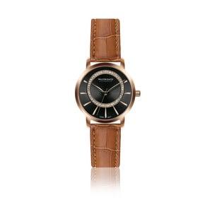Dámské hodinky s hnědým páskem z pravé kůže Walter Bach Union