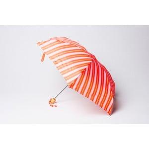 Skládací deštník Stripe, oranžovo-růžový
