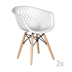 Sada 2 bílých jídelních židlí Evergreen House René