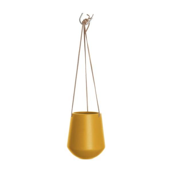 Matně okrově žlutý závěsný keramický květináč PT LIVING Skittle, výška 15cm