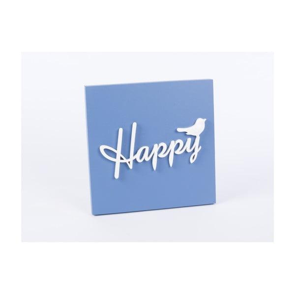 Dřevěný obraz Happy 30x30 cm, modrý