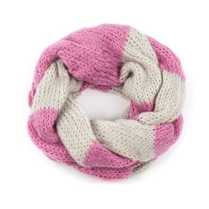 Fular circular Art of Polo Ruby, roz-alb