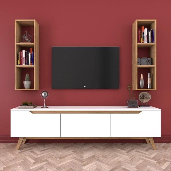Zestaw białej komody pod TV i 2 półek w dekorze drewna