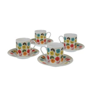 Set 4 căni cu farfurioară pentru espresso Rex London Poppy