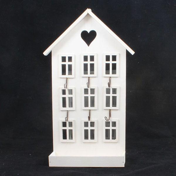 Dřevěný věšák Bílý domek