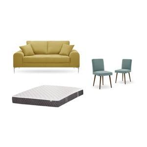 Set dvoumístné žluté pohovky, 2šedozelených židlí a matrace 140 x 200 cm Home Essentials