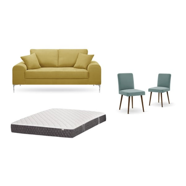 Set canapea galbenă, 2 scaune gri-verde, o saltea 140 x 200 cm Home Essentials