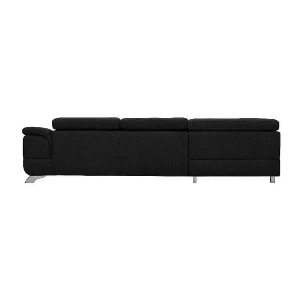 Černá rozkládací rohová pohovka s úložným prostorem Windsor & Co Sofas Gamma, levý roh