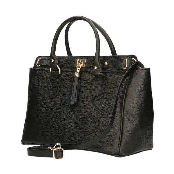 Černá kožená kabelka Chicca Borse Basico