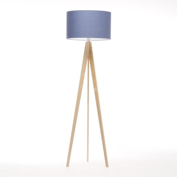 Modrá stojací lampa 4room Artista, přírodní bříza, 150 cm