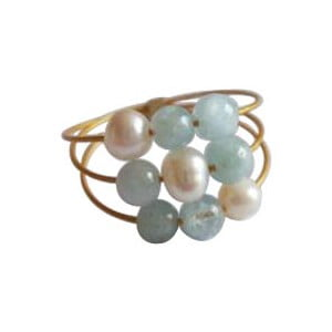 Zlatý prsten Pearl and Aquamarine Confetti, vel. 51 (perly a akvamarín)