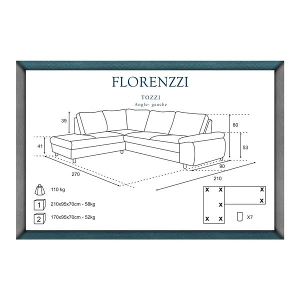 Tmavě šedá pohovka Florenzzi Tozzi s lenoškou na levé straně