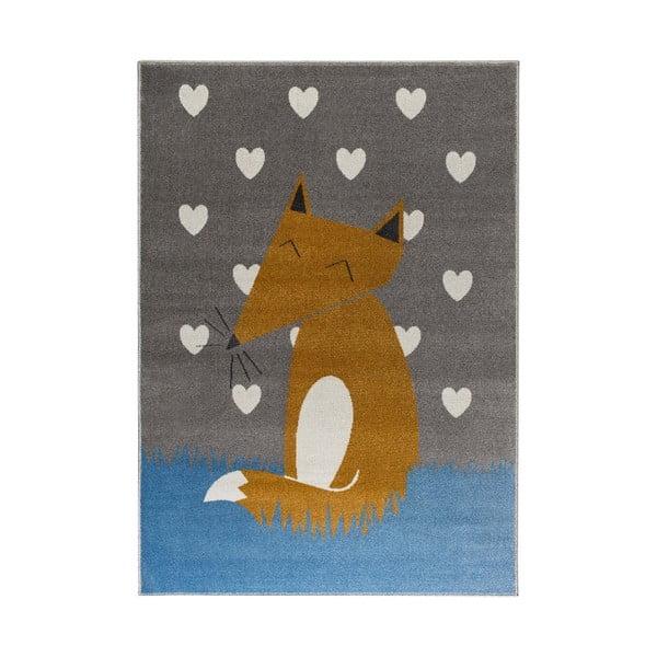 Šedý koberec s motivem lišky KICOTI Grey, 80 x 150 cm