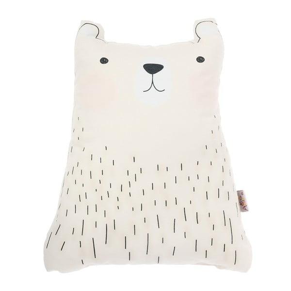 Bílý dětský polštářek s příměsí bavlny Apolena Pillow Toy Bear Cute, 22 x 30 cm