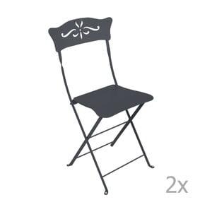 Sada 2 antracitově šedých skládacích zahradních židlí Fermob Bagatelle