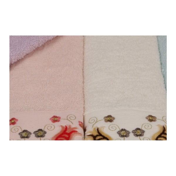 Sada 6 barevných ručníků z čisté bavlny Casandra, 30 x 50 cm