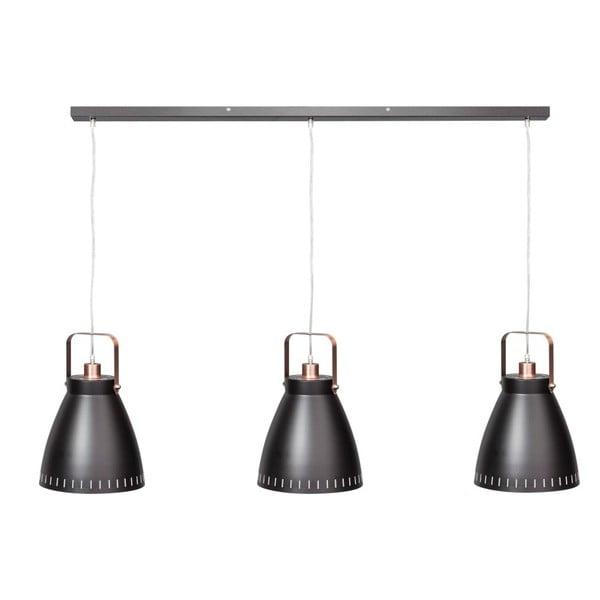 Černo-měděné triojité stropní svítidlo ETH Acate