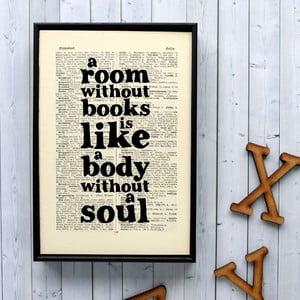 Plakát v dřevěném rámu A Room Without Books