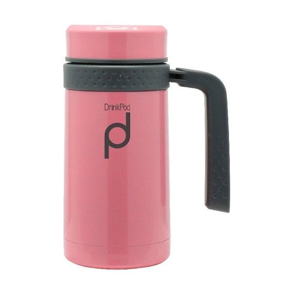 Růžový termohrnek Pioneer Drinkpod , 450 ml