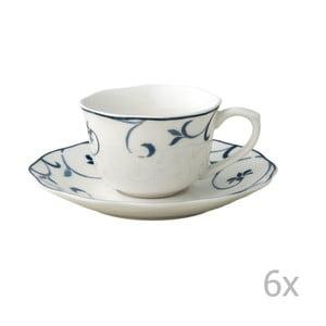 Sada 6 porcelánových hrnečků s podšálky Brandani Ricciolo
