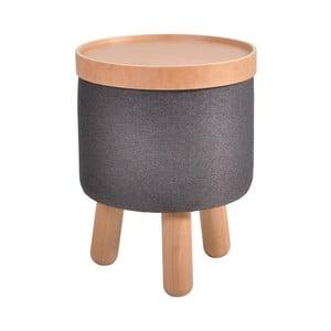 Tmavě šedá stolička s detaily z bukového dřeva a odnímatelnou deskou Garageeight Molde, ⌀35cm