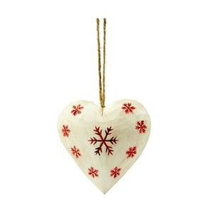 Závěsná dekorace Antic Line Heart with snowflake in white